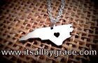 State of North Carolina Necklace Charm, NC Heart Pendant  Made In America Silver