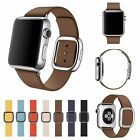 Modern Buckle Genuine Leather Magnetic Closure Watch Band Strap for Apple Watch