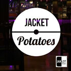 CAFE COFFEE WINDOW DECAL STICKERS CIRCLES RANGE. This One - JACKET POTATOES