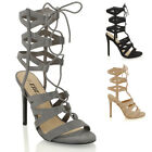 WOMENS LACE UP STILETTO HIGH HEEL CUT OUT LADIES STRAPPY ANKLE CALF BOOTS SHOES