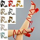 Kyпить Womens Lace Up Block Mid Heel Ankle Tie Wrap Lace Up Strappy Sandal Shoes на еВаy.соm