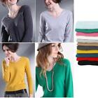 Ladies Cashmere Blend Warm V-neck Pullover Shirt Cardigan Sweater