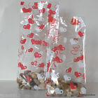 10 Valentines Day Cellophane Gift Bags *Red & White Hearts* Choose Size/Wedding