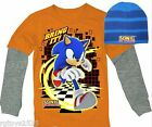 Sonic the Hedgehog Long Sleeve t-Shirt  6 7 8 10 12 14 16 18 Childs w Beanie