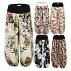 Women'S Floral Printed Ruched Elastic Waistband Harem Pants Soft Trousers
