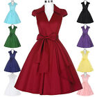 Womens Cap Shoulder Vintage 1950s Housewife Style Swing Evening Party Dress