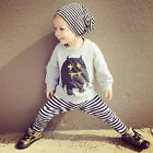 2pc Toddler Baby Boys Monster Clothes Long Sleeve Tops T-Shirt Pants Outfits Set