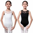 4-15 Aged Kid Girls Gymnastics Stretch Slim Bodysuit Ballet Dance Leotard Dress ...