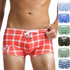 Sexy Men's Grid Swim Trunks Swimming Boxer Briefs Surf Board Swimsuits Beachwear