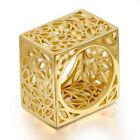 3D Square Hollowed Statement Cocktail Ring 18k Yellow GP Women Gift R1134