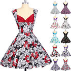 Plus Size Retro Vintage 1950s 60's Causal Floral Swing Flared Rock N Roll Dress