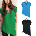 New Women Casual Chiffon Loose Short Sleeve Sexy T Shirt Tops Blouse 4842