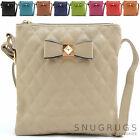 Ladies / Womens Premium Faux Leather Diamond Effect Cross Body / Shoulder Bag