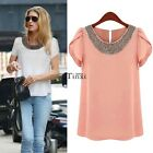 Summer Ladies Women Chiffon Short Sleeve T Shirt Casual Tops Beads Hot Blouse