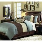 brown and blue comforters - Beige Blue-Teal and Brown Luxury Stripe 8 Piece King Size Comforter Set