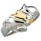 925 Silver & 14k Yellow Gold Flowing Drape Wrap Around Ring