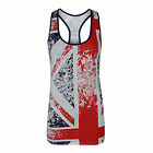 Womens Ladies Union Jack Faded Style Racer Vest Top T Shirt 8-14