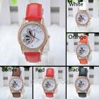 Fashion Women Butterfly Style Rhinestone PU Leather Band Quartz Wrist Watch