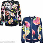 New Ladies Womens Floral Print Log Sleeves Zip Up Jacket Coat