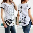 Women Short Sleeve Cotton Ink Painting Top T-shirt Blouse