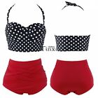 Cutest Retro Rockabilly Pin up High Waist Bikini Set Swimsuit Beachwear Swimwear