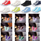Men/Women's Lace Up Canvas High Top Sneakers Flat Plimsoll Shoes 19 Color Casual