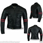 BikersGear Motorcycle Jacket Black & Oxblood Matt Leather Cafe Racer CE Approved
