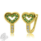 0.69CT 925 Silver Heart Emerald Huggie Hopp Earrings 14K Gold Plated