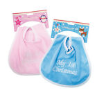 My 1st Christmas Baby Bib Pink or Blue Boy or Girl Cute Festive Gift