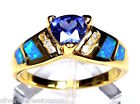 Genuine 18k Gold Over Sterling Silver Tanzanite & Blue Fire Opal Inlay Ring 789