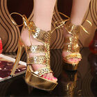 Sexy Womens Platform Pump High Heels Ankle Strap Sandal Party Shoes Gold/Silver