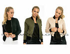 Womens MA1 Cropped Bomber Jacket Classic Style Zip Up Biker Vintage Style