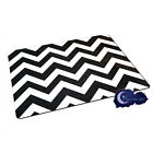 Black & White Chevron Pattern - Tempered Glass Bar & Kitchen Cutting Board