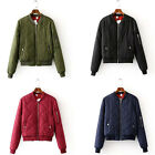 Fashion Casual Quilted Bomber Jacket Zip Baseball Padded Coat Outerwear 6 Colors