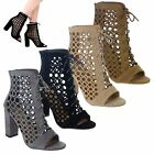 WOMES LADIES BLOCK MID HIGH HEEL CUT OUT LACE UP CAGED ANKLE BOOTS SHOES SIZE