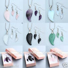 Silver Metal Natural Gems Angle Wing Pendant Chain Necklace+Earrings Jewelry Set