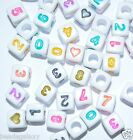 100 pcs alphabet number beads, cube, up to buyer selection, numbers, size
