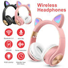 Wireless Bluetooth 5.0 Cat Ear Headset Noise Cancelling Over Ear LED Headphones