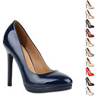 Damen Lack High Heels Plateau Pumps Party Abend Schuhe 811780 New Look