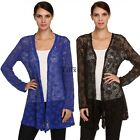 Fashion Women's Long Sleeve Lace Crochet Knitted Long Cardigan Coat Jacket Tops