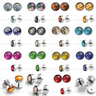 Earth Planet Starry Star Steel Fake Cheater 0G Bar Barbell Plug Ear Stud Earring