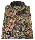Shirt Multi Colour Navy Paisley Men's Button Down Long Sleeve Cotton Relco