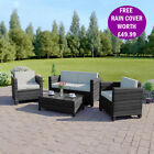 NEW Dark Mix Grey Rattan Weave Garden Furniture Sofa Set FREE PROTECTIVE COVER