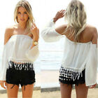 Female Sexy Long Sleeve Off Shoulder Chiffon Blouse Strapless Boho Crop Comfy