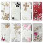 Case 3D Bling White Leather Crystal Rhinestone Flip Wallet Cover Cases For ZTE