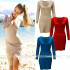2016 Womens Long Sleeve Side Slit Casual V neck Party Bodycon Mini Dress