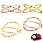 """Fashion Women Lady Stainless Steel """"X"""" Shape Criss Cross Simple Ring US5-9 Gift"""