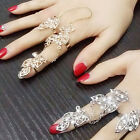 Modish Rhinestone Full Finger Leaf Joint Knuckle Hollow Chain Out Finger ring Q