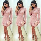 Sexy Womens Summer Bodycon Evening Cocktail Party Long Sleeve Mini Lace Dress