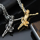 AgentX Stylish Unisex Figure Pendant Chain Gold Silver Stainless Steel Necklace